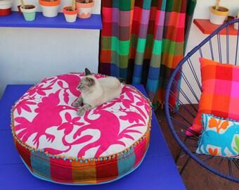 Round Fucshia and pom pom Pouf  Ready to ship original Floor Cushion Pet Bed