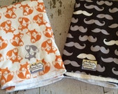 The Couture Mama Cloth Diaper Burp Cloths- Set of Two in Fox and Mustache Fabric