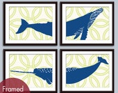 Humpback Whale and Narwhal Circle Links (C) Set of 4 - Art Prints (Featured in Deep Blue and Kiwi) Nautical Beach Prints
