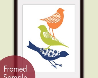 Stacked Cute Birds (B) - Art Print (Featured in Deep Blue, Chartreuse and Orange Peel) Woodland Bird Art Print / Custom Colors