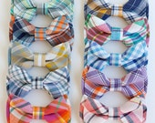 The Beau- boy's organic madras plaid collection pre-tied double stacked bow ties- (adjustable strap or clip selection)