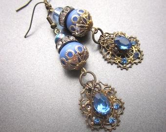 Blue Rhinestone Vintage Assemblage Dangle Earrings Something Blue