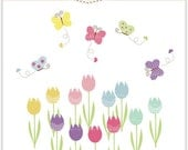 ON SALE flowers clip art butterfly clip art Digital clip art for all use - tulip garden, instant download