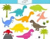 ON SALE Dinosaur Digital clip art - Dinosaur clip art, color silhouette dinosaur, cute dinosaur, dinosaurs, INSTANT Download