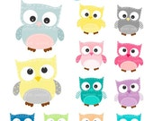ON SALE owls Digital clip art - 12 Owls, owl clip art, pink, blue, yellow and grey owl, INSTANT Download