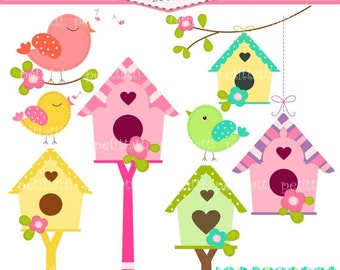 ON SALE Birds and Birdhouse Digital clip art - instant download bird clip art, Birds, flowers, birdhouse