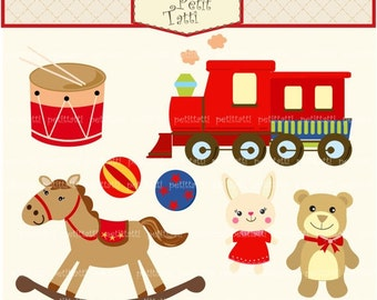 ON SALE Toys Clip Art - Vintage Toys Clipart- cute trains clip art, teddy bear clip art, Digital clip art , instant download