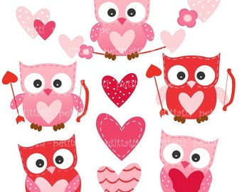 ON SALE Digital clip art for all use,Owls with heart, owls clip art, pink, red, valentine clip art, cupid, INSTANT Download Digital cl