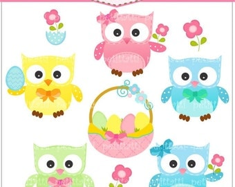 ON SALE easter clip art - digital graphic clipart, Easter day Digital clip art - Easter Owls, egg baskets,