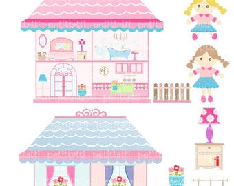 ON SALE doll house clip art - girl clip art, Digital clip art, Doll house, rag doll, instant download clip art