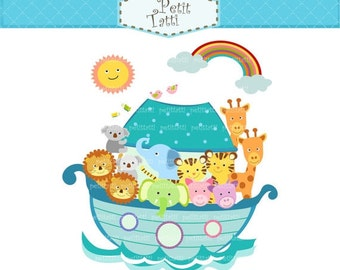 ON SALE Noah's ark clipart - Noah's ark 3 blue - Noah's ark scene, Noah ark digital clipart, noah ark, cute animals clipart