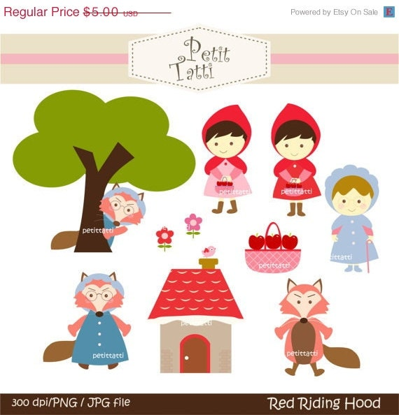 ON SALE Red Riding Hood Digital clip art for all use # Instant Download