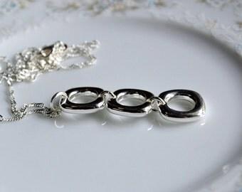 Sterling silver triple drop link pendant necklace, silver link necklace, sterling silver jewelery