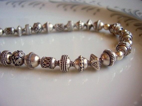 For Gayatri only Sterling silver bali bead necklace silver necklace, bali bead jewelry