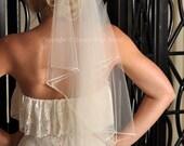 Wedding Veil, Cascade Veil, Bead Veil, Two Tier Veil with Beaded Edge - Elbow Length