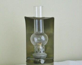 Vintage Brass Lantern with Glass Globe, Wall Mount or Table Trop Oil Lantern, Tungwood Nav Light, Hong Kong