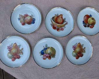 Six Collectible Painted Fruit Plates, White Porcelain Plate with Gold Band Trim, Decorative Wall Hanging Plates with Fruit