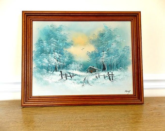 Winter Scene, Painting, Artwork, Cabin, Woods, Snow, Winter, Hand Painted, Canvas, Snow Scene, Vintage, Retro, Framed Art, Landscape