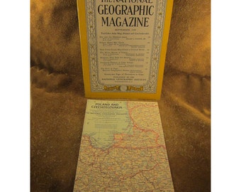 September 1958 Issue and Map of Poland & Czechoslovakia – Original Copy - National Geographic Magazine - Vintage Collectible Magazine