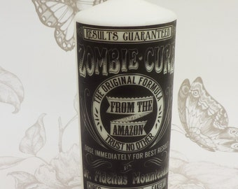 Gothic pillar candle halloween candle -Zombie  candle -gothic home decor- voodoo - witchcraft -macabre