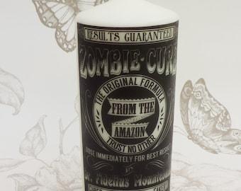 Zombie victorian candle 13 x 7 cm white black