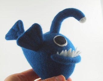 Angler Fish toy, blue plush fish, fish monster, monster plushie, waldorf toy, waldorf fish, funny fish toy, childs toy, small stuffed toy