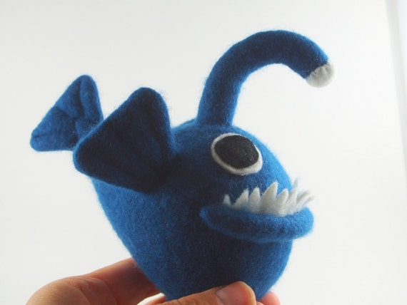Angler fish toy blue plush fish fish monster monster for Angler fish toy