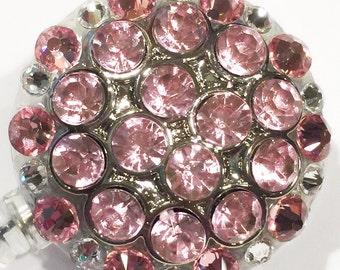 Swarovski Light Rose Pink Crystal Embellished Retractable ID Name Tag Badge Reel