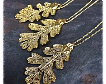 One 24KT Gold Dipped Lacey Oak Leaf Pendant Necklace