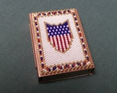 Beadwork Matchbox decorative cover lighter holder beaded for Fathers Day gift idea, Veteran gift idea, patriotic US flag sheild