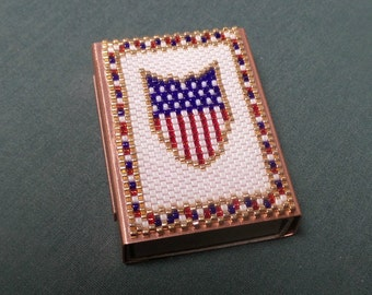 Peyote Beadwork Matchbox decorative cover lighter holder beaded for Fathers Day gift idea, Veteran gift idea, patriotic US flag shield