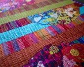 MarveLes FESTIVE FIESTA #2 Floral Collage Quilted Table Topper Runner Home Decor Stripes