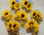 7 Sunflower Corsages with Burlap Bows, FFT Original Creation, Silk Flowers Wedding Accessory, Made to Order