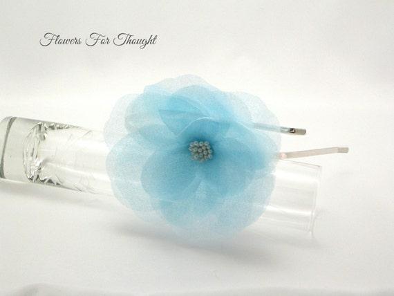 Blue Flower Headband, FFT Original, Pearls Silk Organza Flowergirl Something Blue Wedding Bridesmaid Hair Accessory