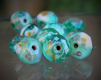 Marbled Emerald Picasso Donut Czech Beads 8x6mm 12 Pcs Gemstone-Cut Faceted Glass