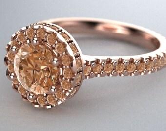 14k Rose gold eternity halo ring.