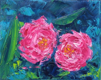 "BEST FRIENDS, 8 x 10 "" original oil painting by Yvonne Wagner. Fleur. Peonies. Flowers. Peony. Savings on 3 ( 8 x 10"") paintings of Peonies."