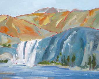 Waterfall, 16 x 12 x 3/4 inch (41 x 30.5 cm) oil painting on canvas by Yvonne Wagner. Mountains,  Wasserfall.  Lake. Summer Sale.