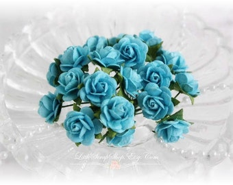 Miniature Roses~Turquois~ Set of 20 for Scrapbooking, Cardmaking, Altered Art, Wedding, Mini Album