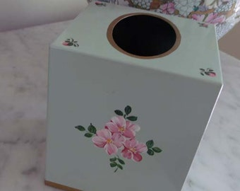 Vintage Palm Beach Designer Tissue Box Orig Tag L.A. Foster Cottage Shabby Chic