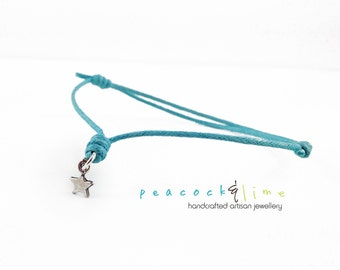 Star Wish bracelet // turquoise waxed cotton  // sterling silver charm wish friendship bracelet // handmade // ready to ship