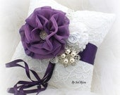 Ring Bearer Pillow, White, Purple, Silver, Plum, Elegant Wedding, Bridal, Lace, Brooch Pillow, Crystals, Pearls, Vintage Style