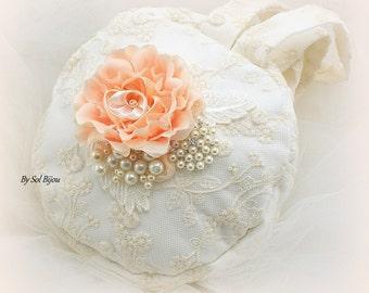 Purse, Ivory, Peach, Cream, Coral, Bridal, Round, Handbag, Vintage Style, Elegant Wedding, Gatsby, Clutch, Crystals, Brooch, Pearls, Lace