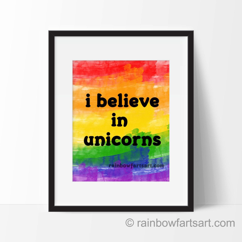 Believe In Unicorns: I Believe In Unicorns Art PRINT Framing Available Digital