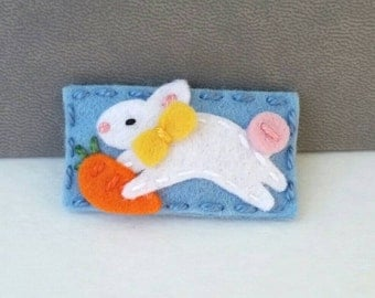 Easter Bunny Wool Felt Hair Clip ( Medium size)