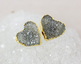 Charcoal Grey Druzy Heart Studs - 14K Gold Filled - Choose Your Druzy