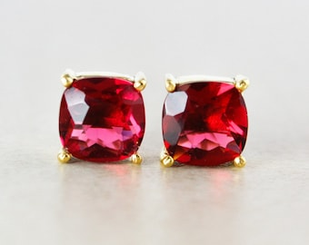 Red Ruby Quartz Studs - Cushion - Gold Plated