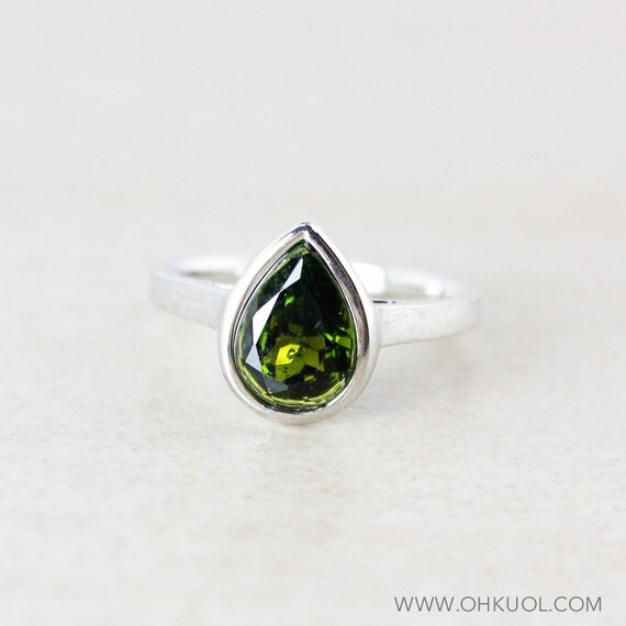 Dark Green Tourmaline Teardrop Ring 925 Sterling Silver
