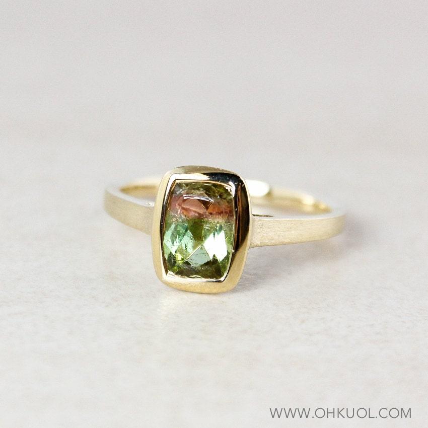 emerald cut watermelon tourmaline ring 10kt yellow gold