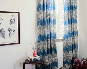 Ikat Window Curtains Blue Green Teal ONE Curtain Panel   44 Part 56